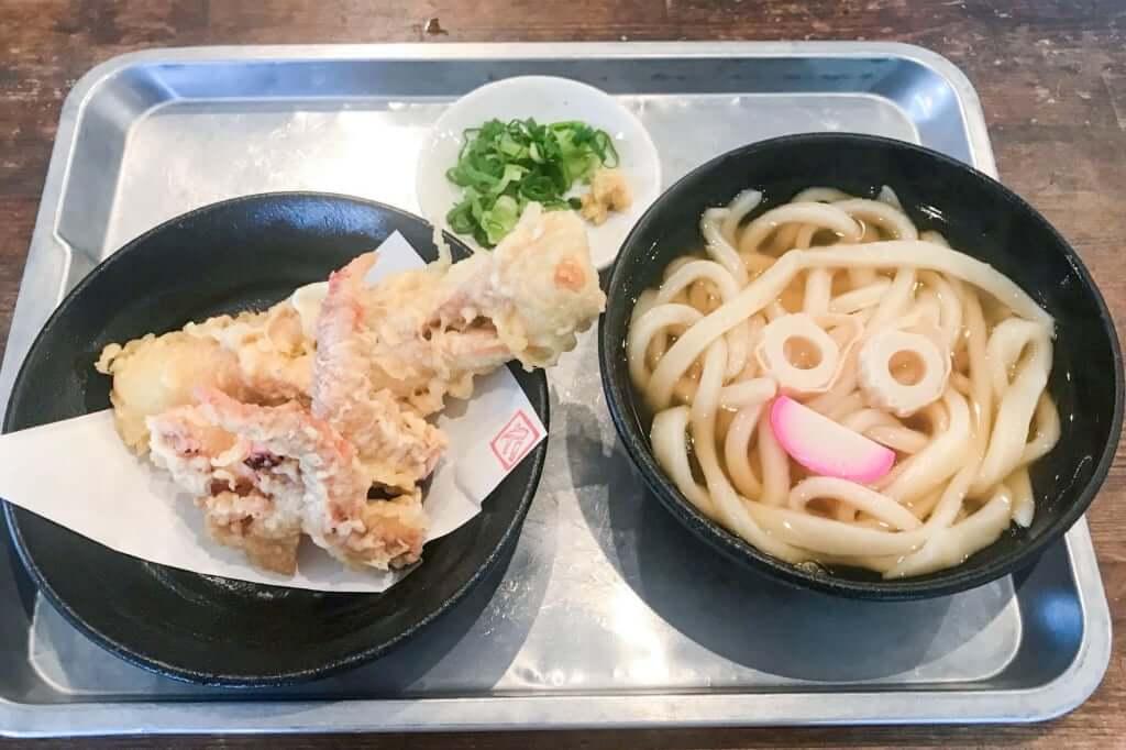 天ぷらセット げそちく + かけうどん_カマ喜ri
