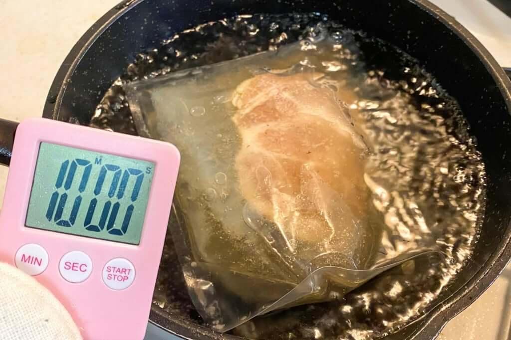 スープを湯煎する_麺場voyage_帆立キノコ潮味_2020-06-22