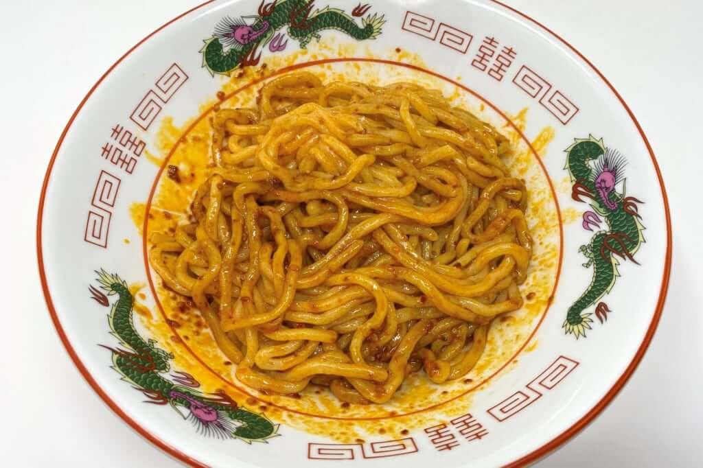 麺とタレを混ぜる_汁なし担々麺_自家製麺ほうきぼし_2020-10-28