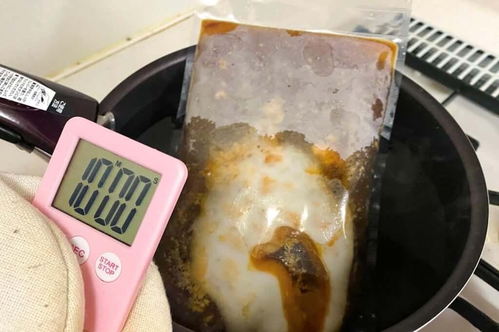 スープを湯煎する_尾道ラーメン_喰海_尾道ラーメン_2020-11-14