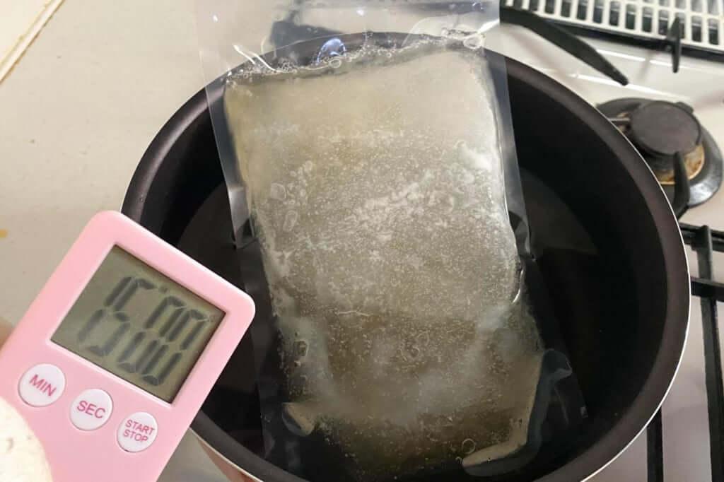 スープを湯煎する_会津らぁ麺_うえんで_塩らぁ麺_2021-01-10